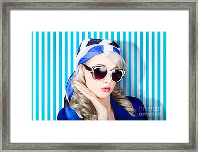 Beautiful Retro Pinup Girl In Scarf And Sunglasses Framed Print
