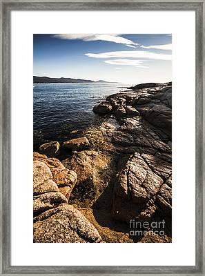Beautiful Rock Covered Coastline Framed Print