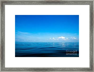 Beautiful Seascape With Blue Sea, Blue Sky And Cloud Background Framed Print by Caio Caldas