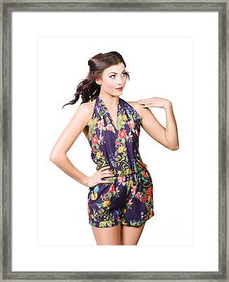 Beautiful Sexy Model In Sleeveless Retro Fashion Framed Print by Jorgo Photography - Wall Art Gallery