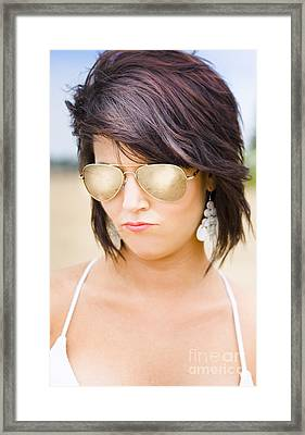 Beautiful Sexy Woman In Summer Sunglasses Framed Print