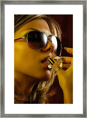 Beautiful Sexy Woman Licking An Ice Cube Framed Print by Oleksiy Maksymenko