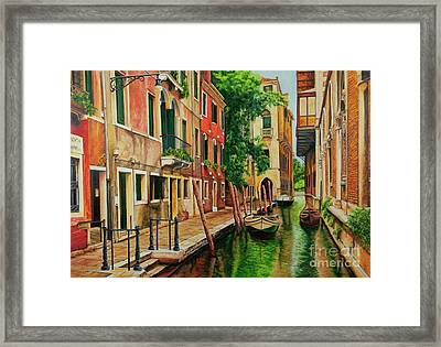 Beautiful Side Canal In Venice Framed Print by Charlotte Blanchard