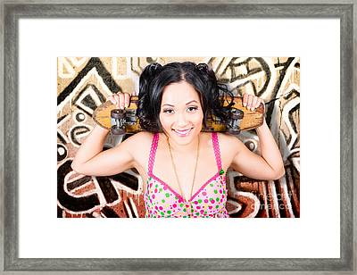 Beautiful Skater Woman Resting Against Grunge Wall Framed Print by Jorgo Photography - Wall Art Gallery