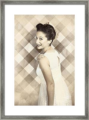 Beautiful Smiling Pin Up Girl Is In 1920s Fashion Framed Print