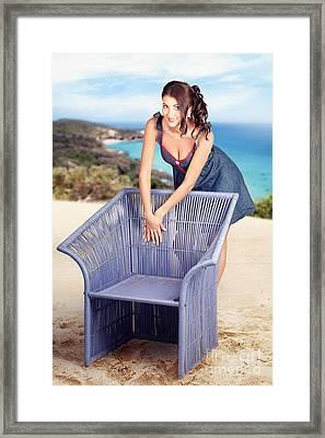 Beautiful Smiling Woman Sunbathing On A Beach Framed Print by Jorgo Photography - Wall Art Gallery