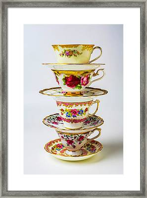 Beautiful Stacked Tea Cups Framed Print by Garry Gay