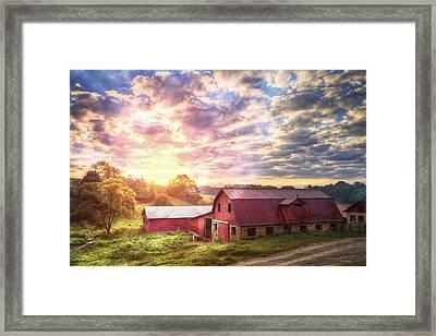 Beautiful Sunrise At The Farm Framed Print
