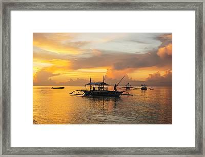 Beautiful Sunrise In Alona Beach, A Man Framed Print