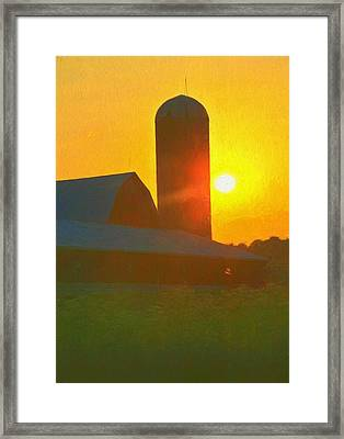 Beautiful Sunrise Over The Farm Framed Print by Dan Sproul