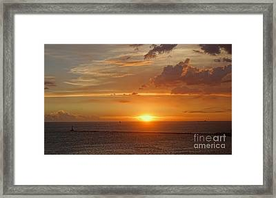 Framed Print featuring the photograph Beautiful Sunset At Kaohsiung Harbor by Yali Shi