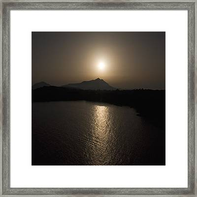 Framed Print featuring the photograph Black  And White Orange Nature Landscape Art Work Photography Square Format by Artecco Fine Art Photography