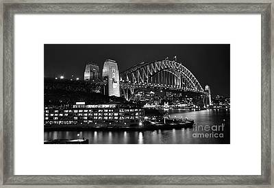 Beautiful Sydney Harbour In Black And White Framed Print