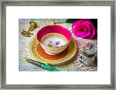 Beautiful Tea Cup And Ink Well Framed Print