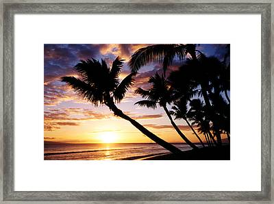 Beautiful Tropical Kaanapali Sunset On West Coast Of Maui Hawaii Framed Print by Pierre Leclerc Photography