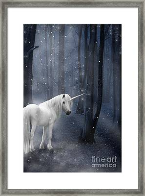 Beautiful Unicorn In Snowy Forest Framed Print