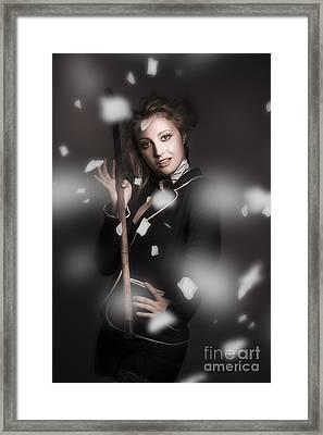 Beautiful Vintage Girl Dancing With Flower Petals Framed Print