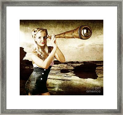Beautiful Vintage Woman With Steampunk Telescope Framed Print