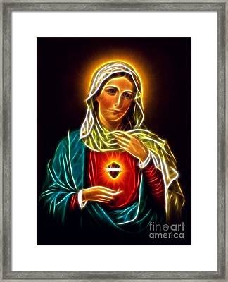 Beautiful Virgin Mary Sacred Heart Framed Print by Pamela Johnson