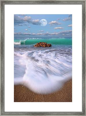 Beautiful Waves Under Full Moon At Coral Cove Beach In Jupiter, Florida Framed Print