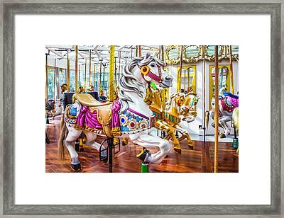 Beautiful White Carrousel Horse Framed Print