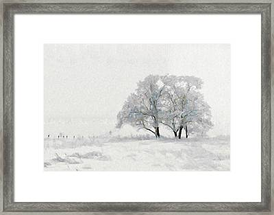 Beautiful White Winter Scene Snow Tree Rural Landscape Framed Print by Wall Art Prints