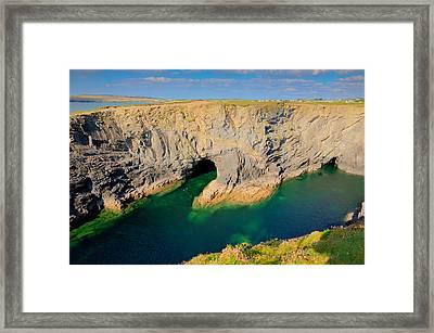 Beautiful Wine Cove Cornwall Coast Turquoise Blue Sea With Snorkellers Near Treyarnon Framed Print