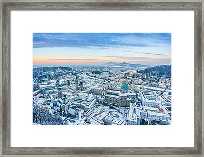 Beautiful Winter Sunset In Salzburg Framed Print