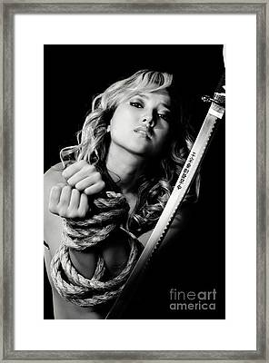 Beautiful Woman Begging For Mercy Framed Print