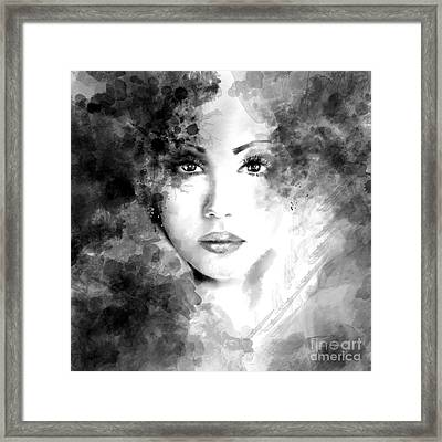 Beautiful Woman Face. Abstract Fashion Illustration Framed Print
