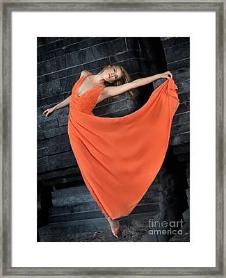 Beautiful Woman In Orange Dress Framed Print by Oleksiy Maksymenko