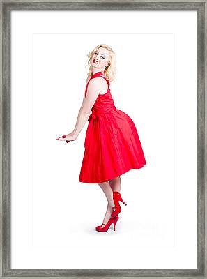 Beautiful Woman Model In Red Dress And High Heels Framed Print