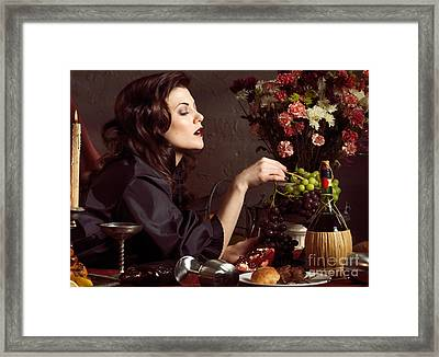 Beautiful Woman On A Festive Table Framed Print by Oleksiy Maksymenko