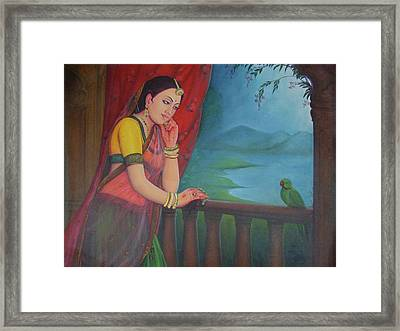 Beautiful Woman Princess Queen Waiting For Her Husband Traditional Art Oil Painting On Canvas Framed Print