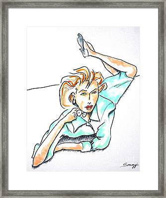 Beautiful Woman, Reclining -- Portrait Of Woman On Floor Framed Print