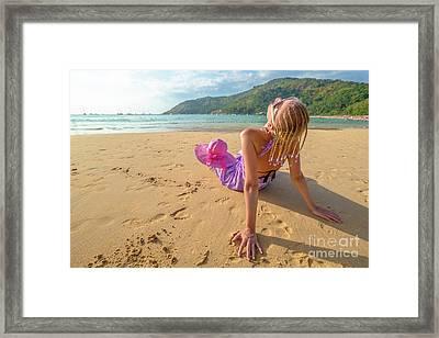 Beautiful Woman Sunbathing On Beach Framed Print