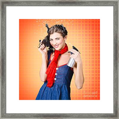 Beautiful Woman Using Hair Product To Pin Up Hair Framed Print
