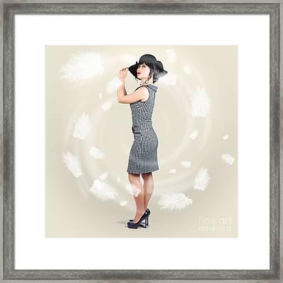 Beautiful Woman Wearing Retro Fashion Accessories Framed Print