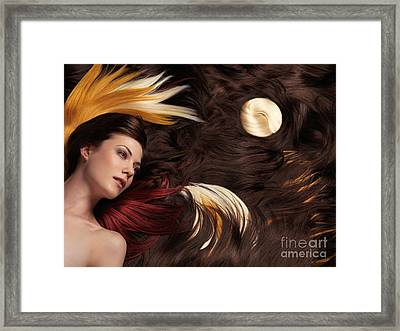 Beautiful Woman With Colorful Hair Extensions Framed Print by Oleksiy Maksymenko