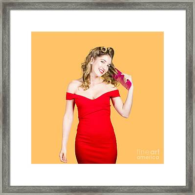 Beautiful Woman With Long Curly Hair And Brush Framed Print
