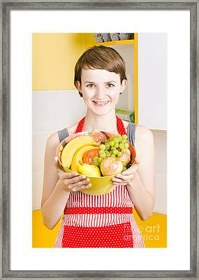 Beautiful Woman With Smile And Fresh Fruit Bowl Framed Print by Jorgo Photography - Wall Art Gallery