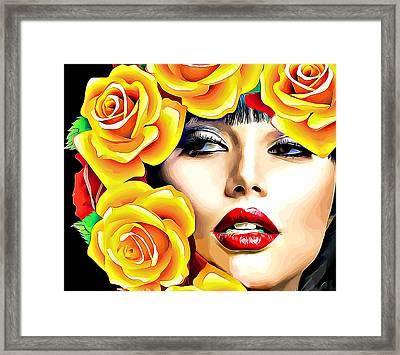 Beautiful Woman Yellow Roses Pop Art Framed Print