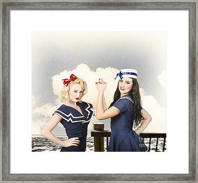 Beautiful Women With Pinup Hairstyle And Makeup Framed Print by Jorgo Photography - Wall Art Gallery