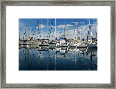 Beautiful Yachts Moored In The Marina Framed Print