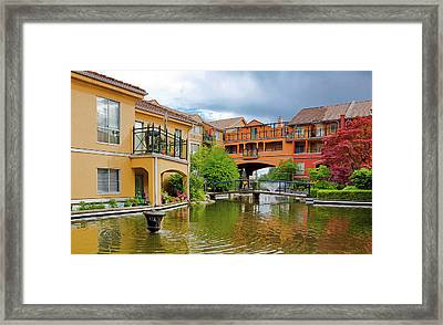 Beautiful Yard With Pound And Fontain Framed Print