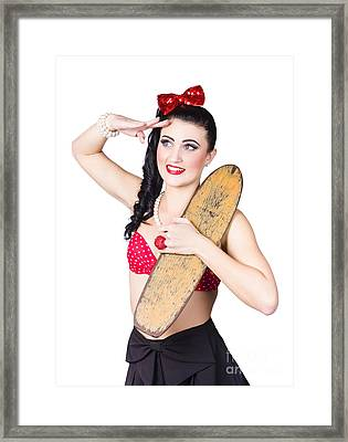 Beautiful Young 80s Skater Girl Isolated On White Framed Print