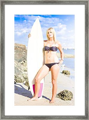 Beautiful Young Blond Surf Woman Framed Print by Jorgo Photography - Wall Art Gallery
