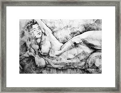 Beautiful Young Girl Pencil Art Drawing Framed Print