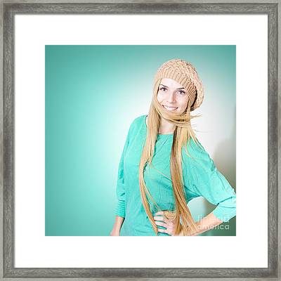 Beautiful Young Winter Woman With Long Blond Hair Framed Print by Jorgo Photography - Wall Art Gallery