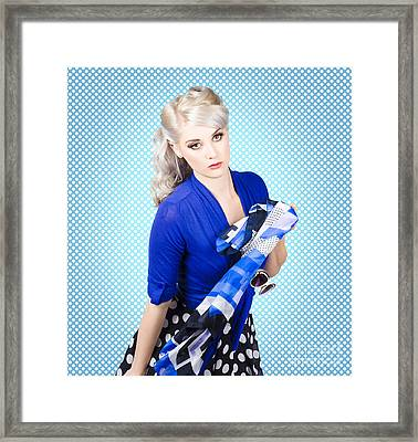 Beautiful Young Woman Holding Sunglasses And Scarf Framed Print by Jorgo Photography - Wall Art Gallery